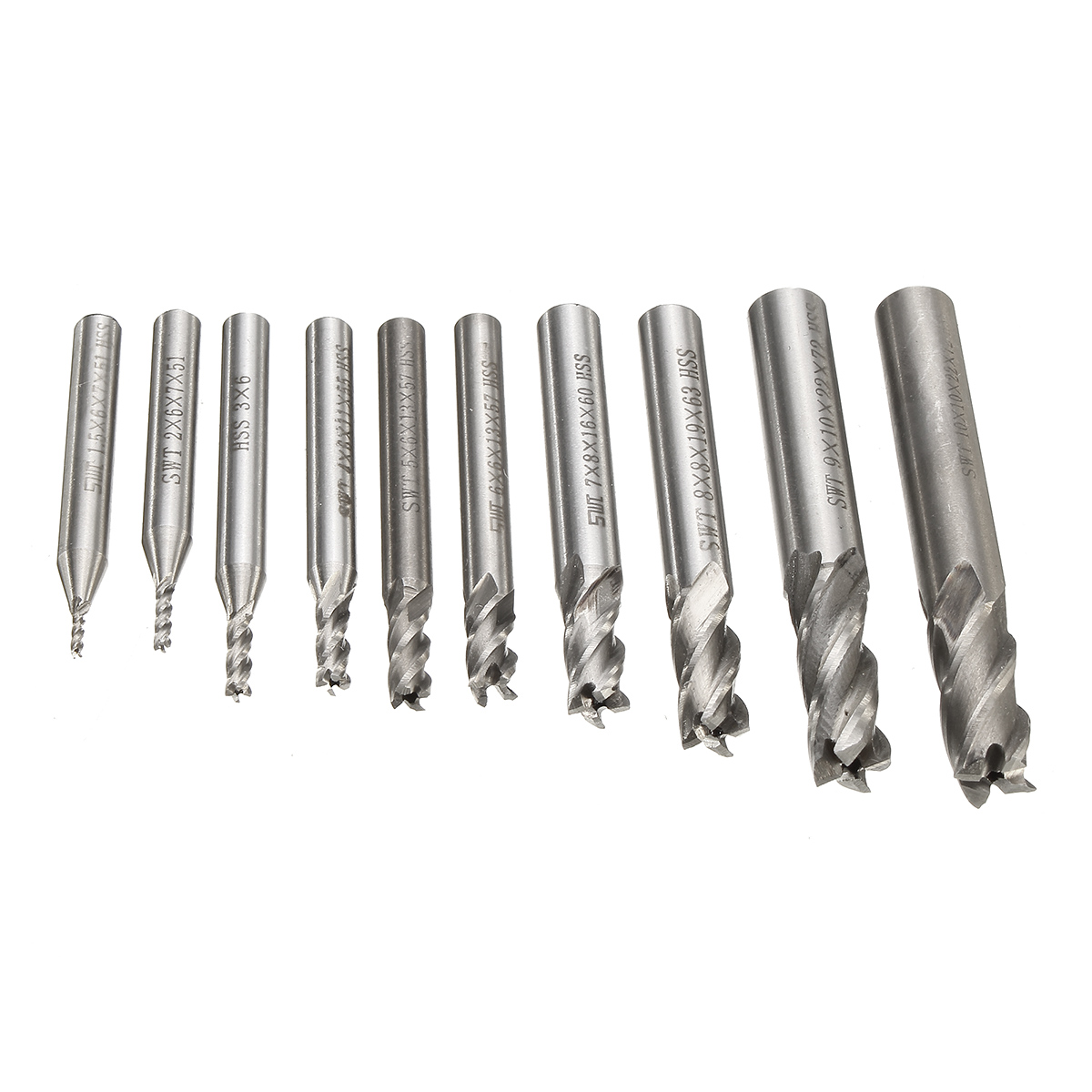10pcs 1.5-10mm HSS 4 Flute CNC End Mill Cutter Straight Shank End Milling Cutter