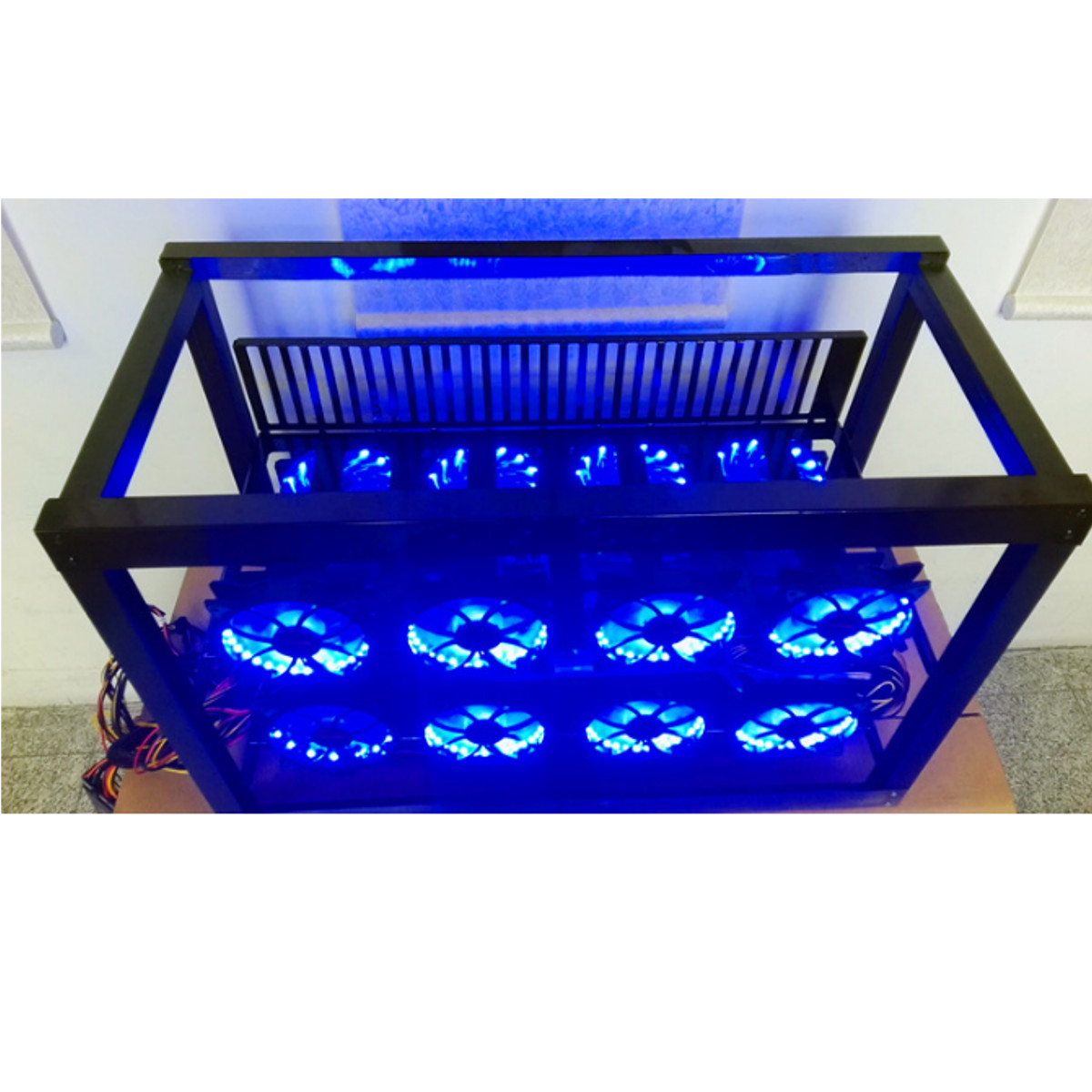 Aluminum Crypto Open Air Mining Miner Frame Rig Case For 8 GPU Ethereum 12 Fan