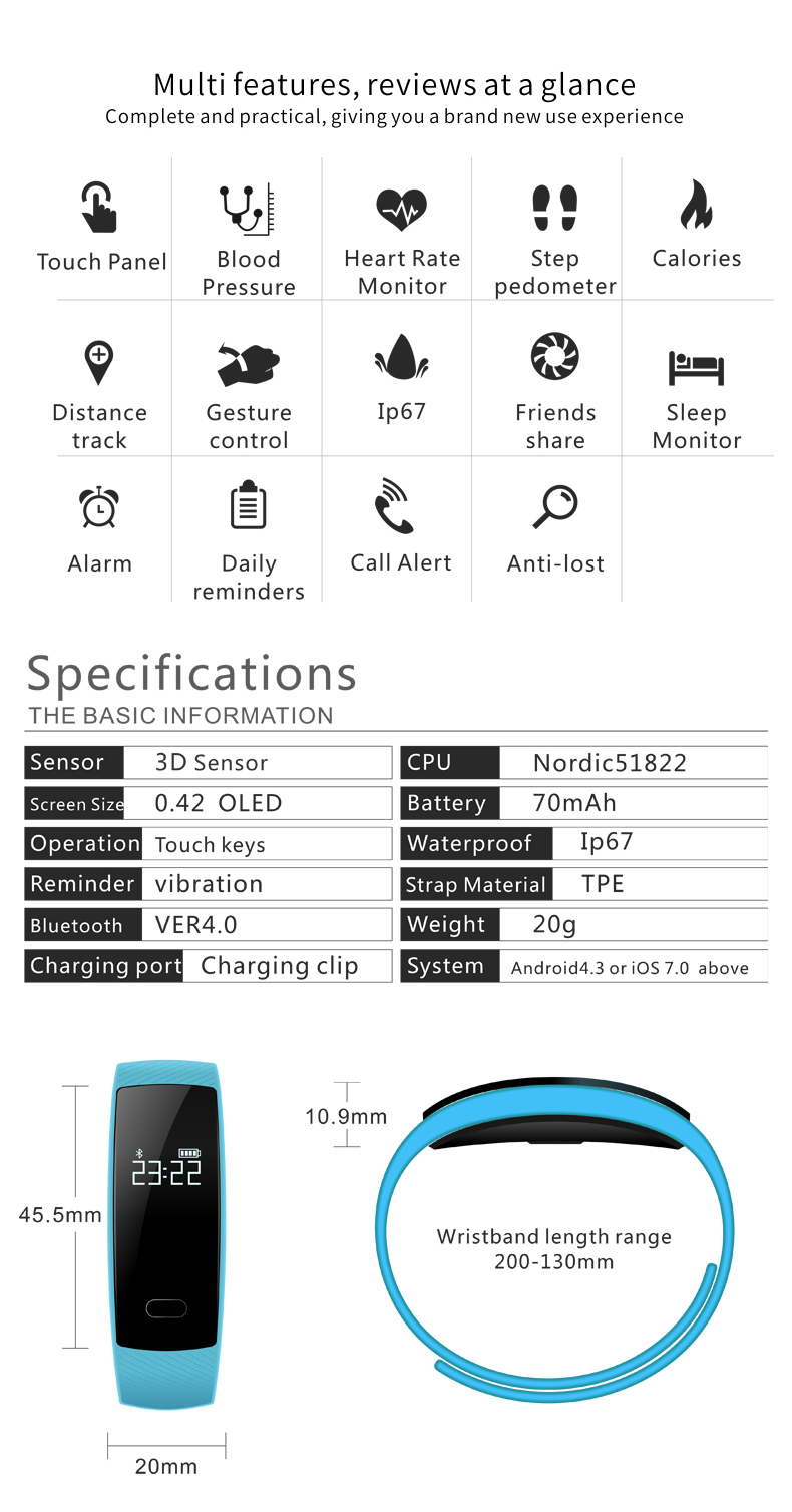 KALOAD QS80 Smart Bracelet Blood Pressure Heart Rate Monitor IP67 Waterproof Smart Watch for Android IOS