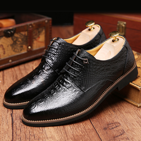 Men Genuine Leather Business Lace-Up Formal Shoes