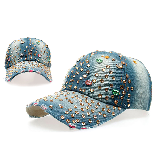 Women Ladies Casual Outdoor Sport Hat Bling Spot Drill Cowboy Baseball Peaked Cap