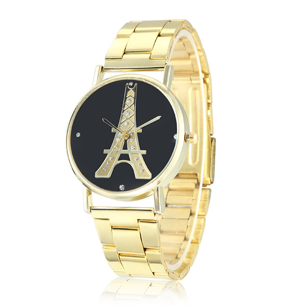 Fashion Concise No Dial Numbers Eiffel Tower Pattern Stainless Steel Strap Men Women Quartz Watch