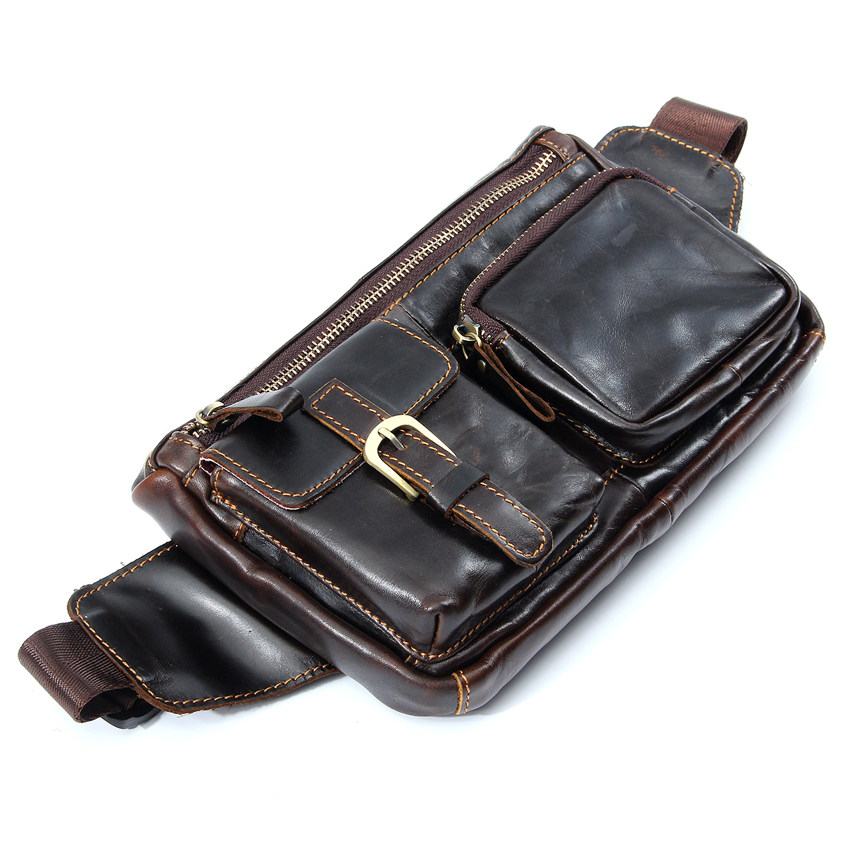 Men Vintage Genuine Leather Travel Motorcycle Rider Belt Hip Pack Waist Bag