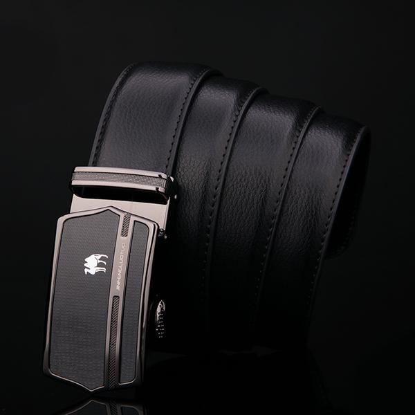 125CM Men Business Cowhide Genuine Leather Luxury Belts Durable Automatic Buckle Trousers Belt