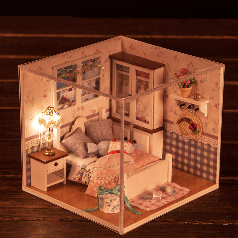 iiecreate M-002 Bedroom DIY Wood Dollhouse Miniature With LED Furniture Cover Doll House