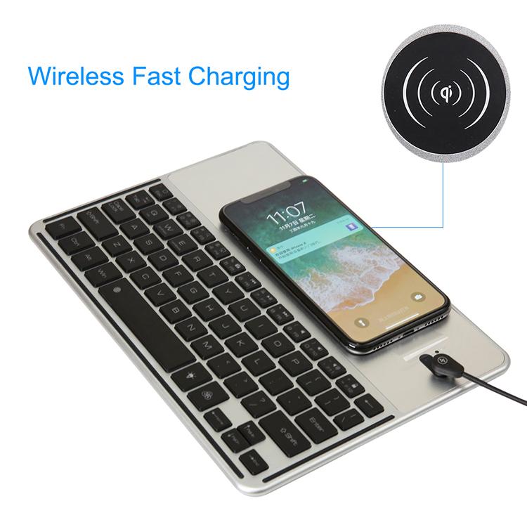 2in1QiCaricabatteriewireless + 7 colori retroilluminati Bluetooth Tastiera per iPhone / iPad/Samsung / iOS / Android