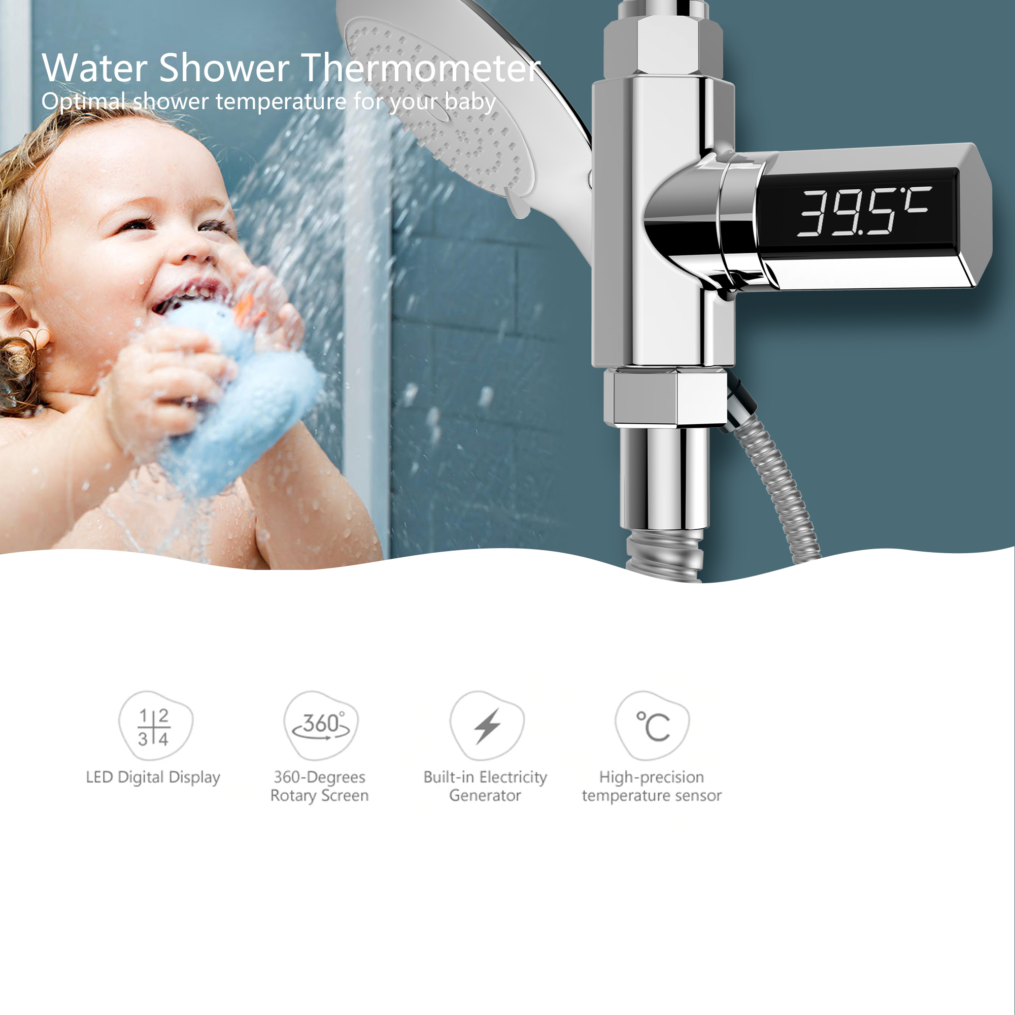 Loskii LW-102 LED Celsius Display Water Shower Thermometer Celsius Flow Self-Generating Electricity Water Temperture Meter Monitor Energy Smart Meter