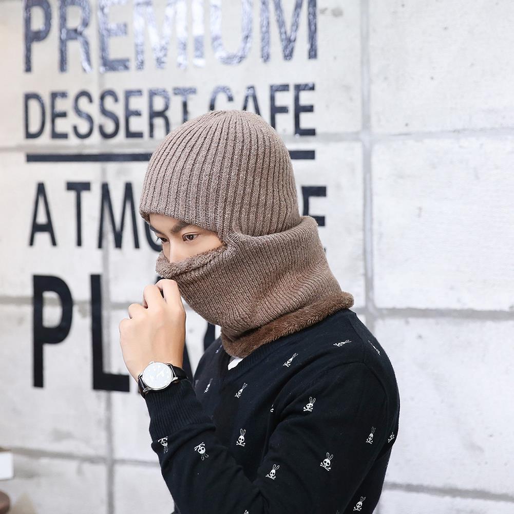 28c1a9a1b12 Knitted Hat Scarf Cap Neck Warmer Winter Siamese Hood Hats For Men Women  Skullies Beanies Fleece