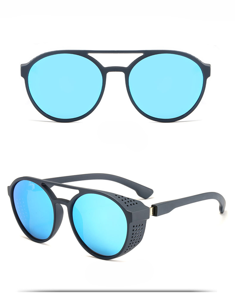 KCASA Fashion Men Women Punk Retro Round Sunglasses