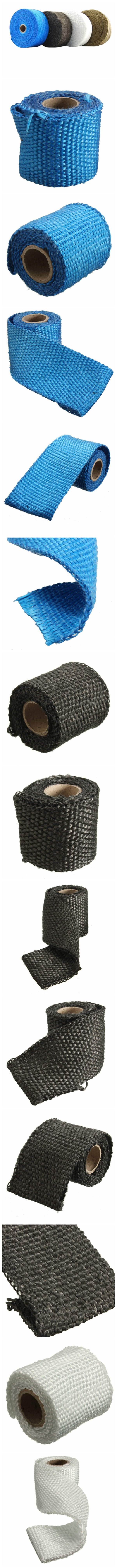 1m 2inch Virgin Glass Fiber Exhaust Pipe Insulation Heat Wrap Tape