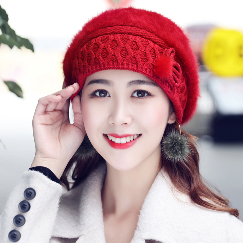 Women Winter Thicken Rabbit Hair Double Layers Beret Hat