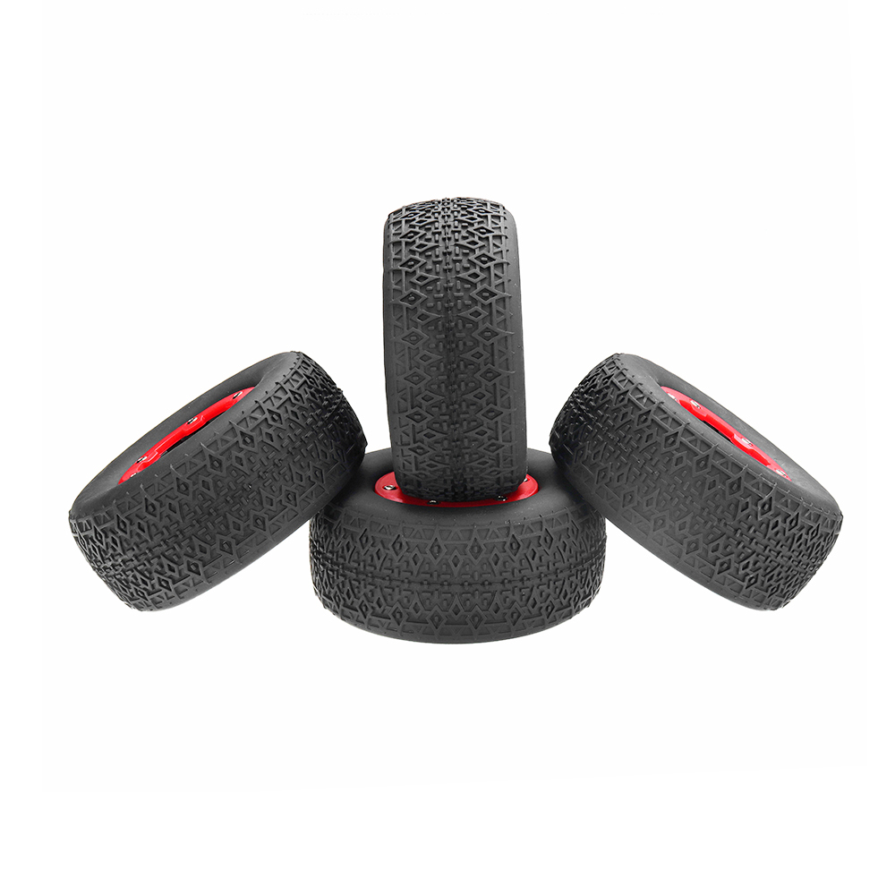 4Pcs AUSTAR AX-3008 108mm 1/10 Scale Tire with Wheel Rim for 1/10 Short Racing Truck RC Car