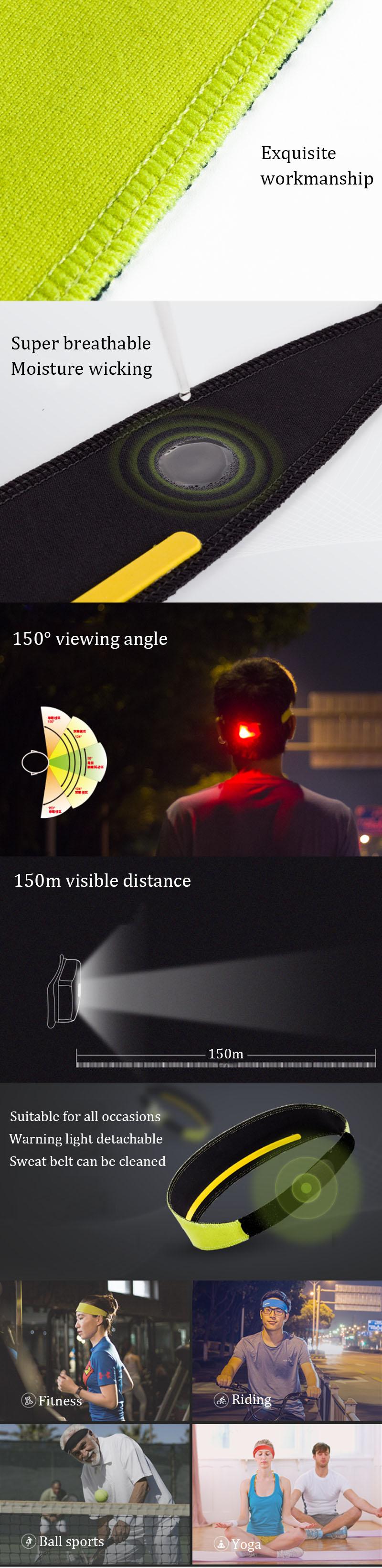 SUNREI Sport Headband Outdoor Running Belt Fitness Yoga Antiperspirant Band With Warning Light