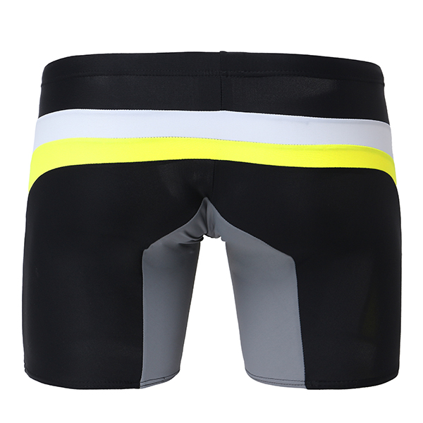 SEOBEAN Splicing Color Skinny Fit Drawstring U Convex Surf Tropic Swimsuit Boxer Swim Shorts for Men