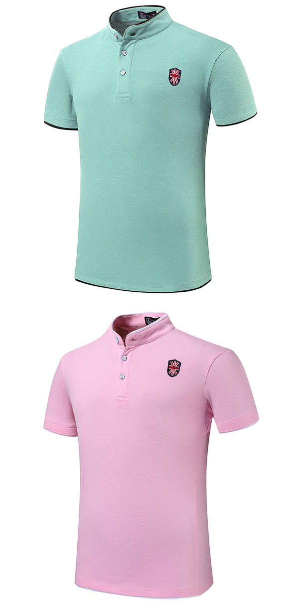 Mens Embroidery Solid Color Stand Collar Button Golf Shirt