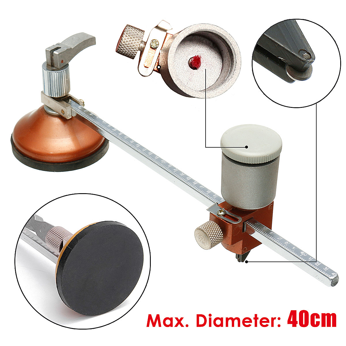 Circular Glass Cutter with Round Knob Handle Suction Cup Adjustable Diamond Glass Cutter Tool Set