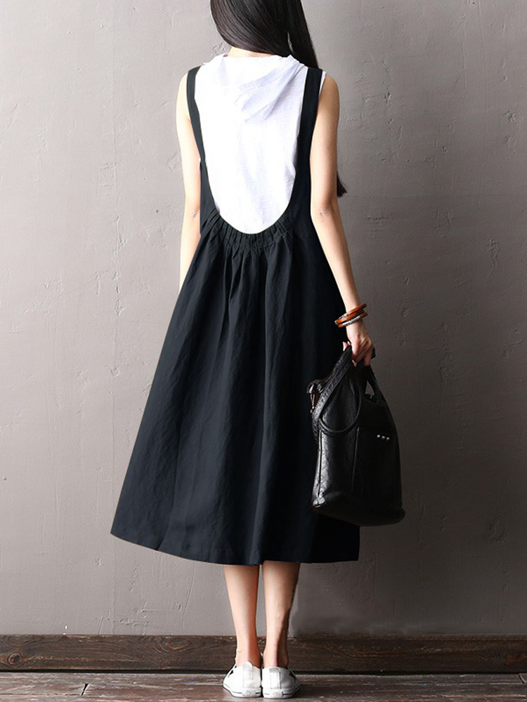 Women Sleeveless Backless Elastic Waisted A-Line Dress