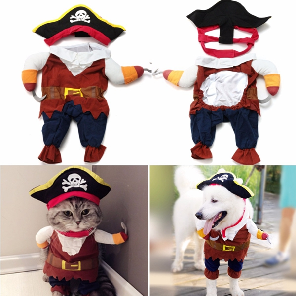 Halloween Funny Pet Dog Cat Pirate Clothes Costume Dress Costume Suit Outfit Apparel S-XL