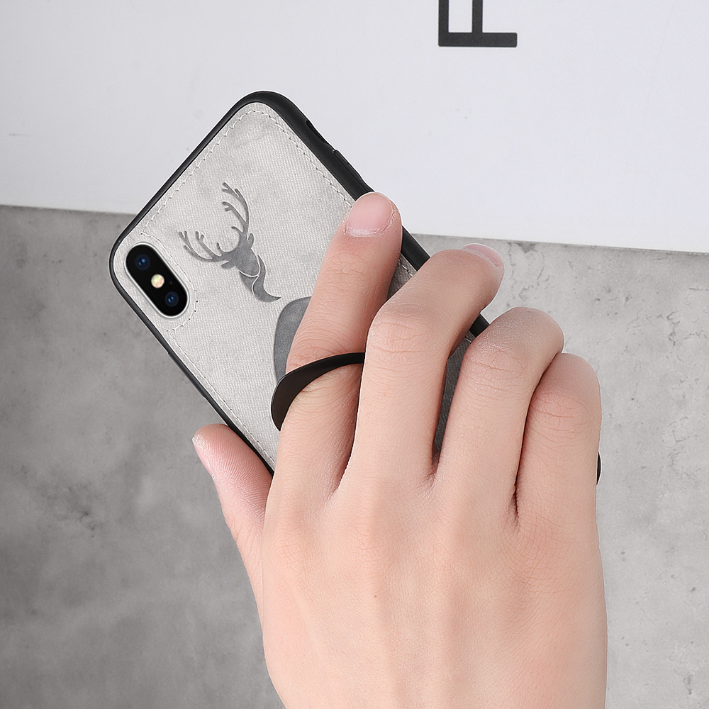 Bakeey Happy Deer Ring Holder Bracket TPU+PU Leather Protective Case For iPhone XS 5.8 Inch