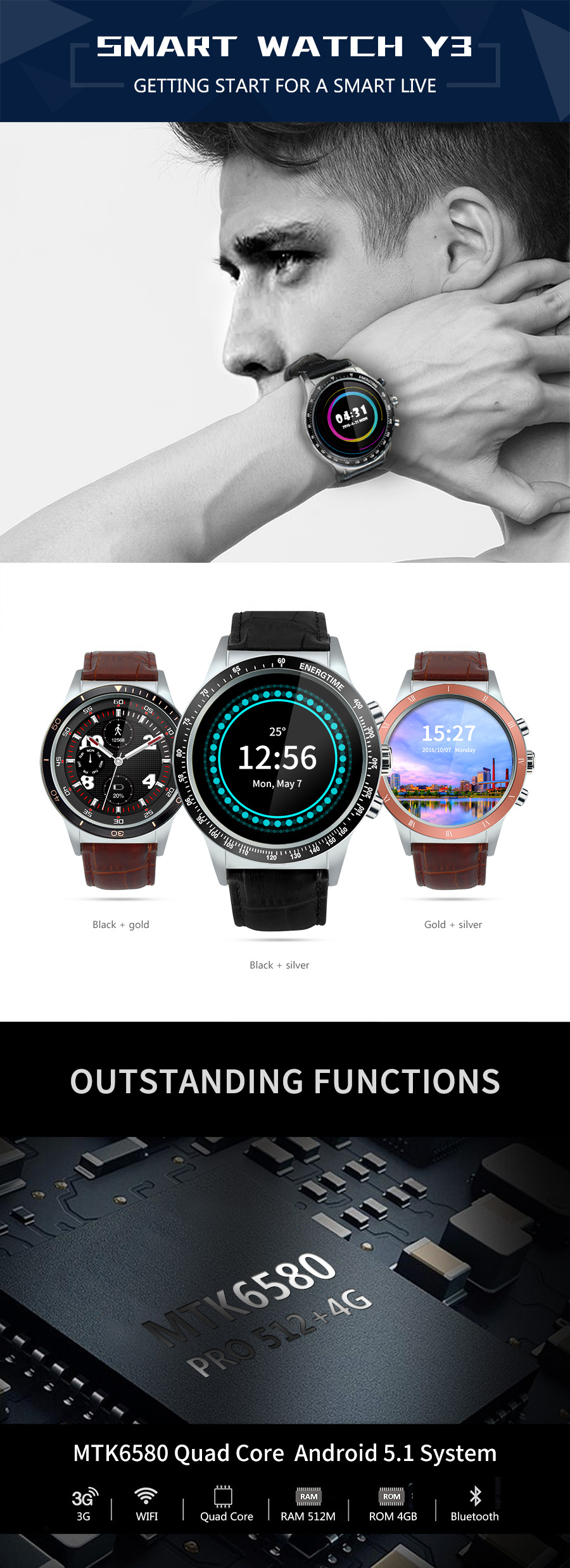 Y3 MTK6580 1.39 Inches Android 5.1 AMOLED 3G Wifi GPS bluetooth Sim Slot Smart Watch