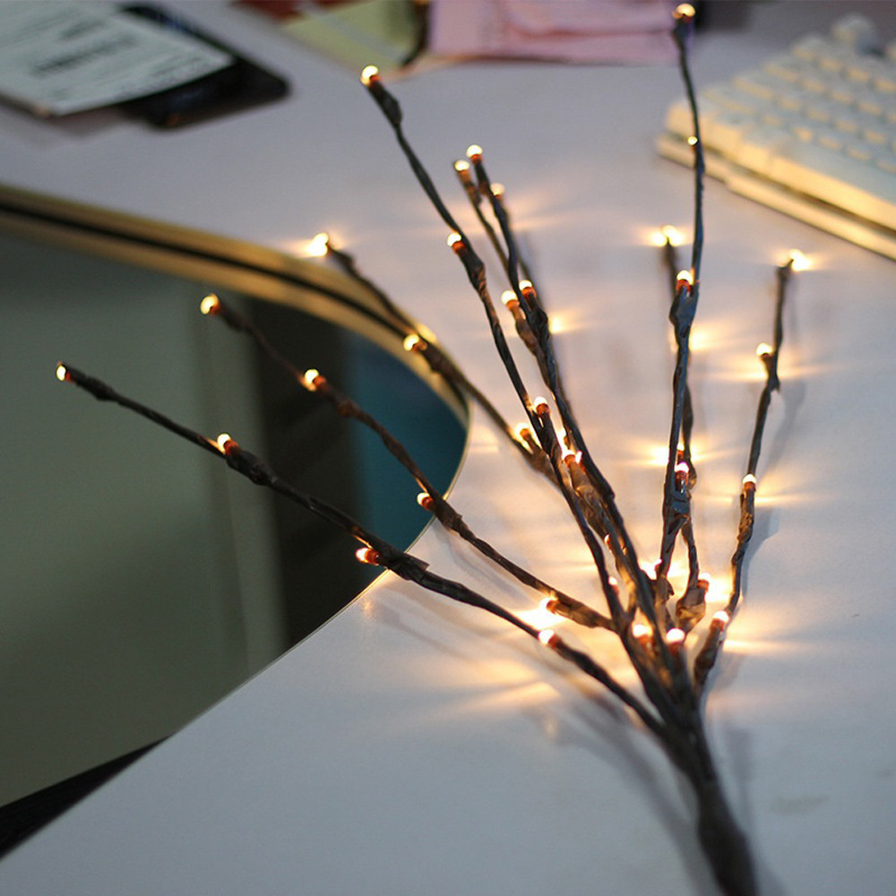 Battery Powered Warm White 1.2W 20LED Brown Tree Branch LED String Light for Christmas Decor DC3V