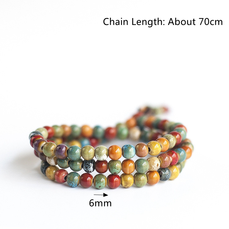 108pcs Tibetan Buddhist Ceramic Multilayer Beaded Bracelet