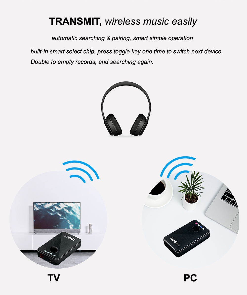 B8 2-In-1 bluetooth 4.1+EDR 3.5MM Stereo Audio Receiver Transmitter Adapter A2DP AVRCP HFP SPP HID