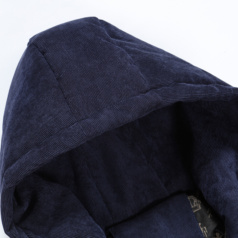 Corduroy Hooded Thick Warm Solid Color Padded Jacket Outwear Parka for Men