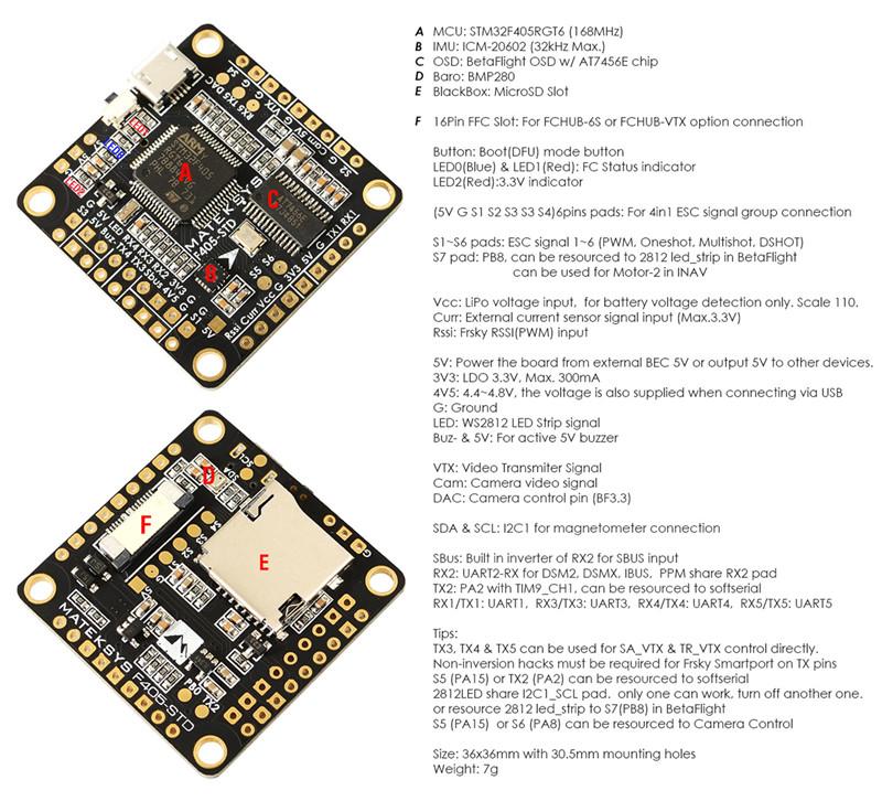 Matek F405-STD BetaFlight STM32F405 Flight Controller Built-in OSD Inverter for RC Multirotor FPV Racing Drone