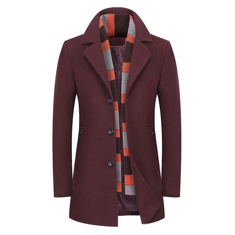 a42f5b18bb6 Mens Winter Thick Warm Stylish Woolen Coat Scarf Overcoat (COLOR: JUJUBERED  | SIZE: L)