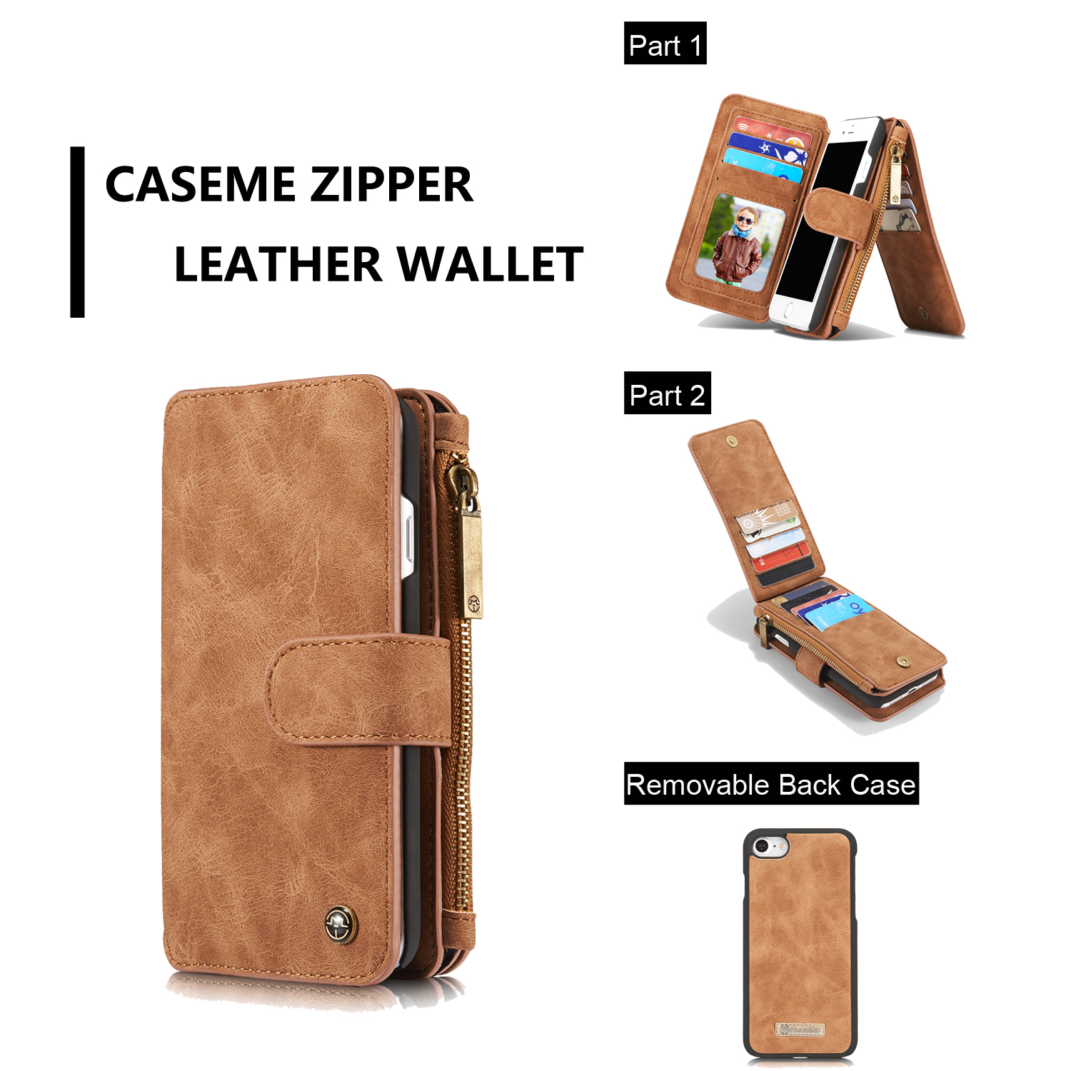 Caseme Magnetic Detachable Zipper Wallet Case For iPhone 7/iPhone 8