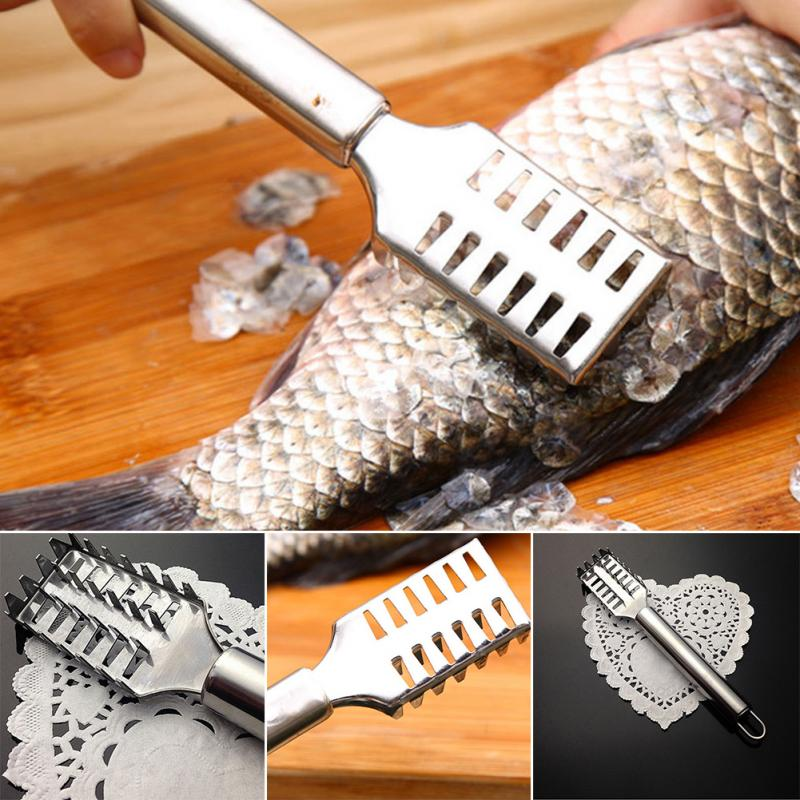 Stainless Steel Fish Scale Remover Cleaner Scale Scraper Peeler Fast Fish Cleaning Knife Fish Shaver Cleaning Tool Brush Scales Scraper Peeler Remover Durable Kitchen Tools
