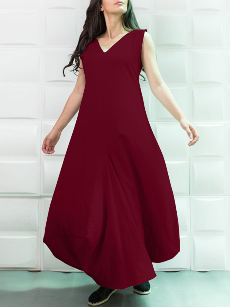 S-5XL Women Solid Color V-Neck Sleeveless Maxi Dress