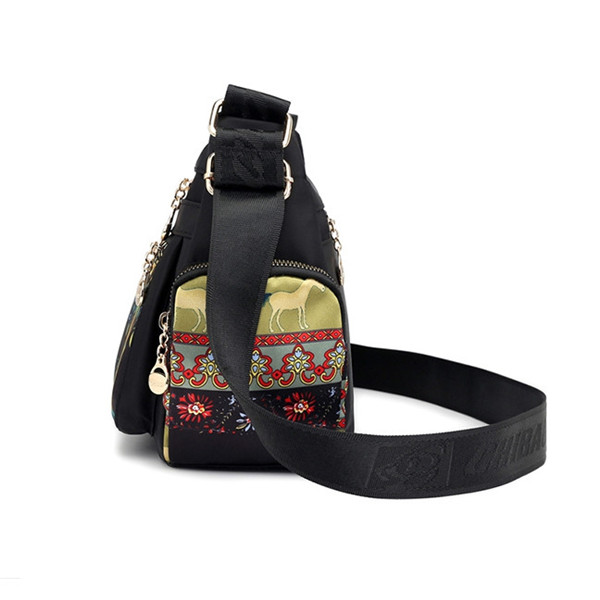 Women Casual Multi-pocket Print Crossbody Bag Waterproof