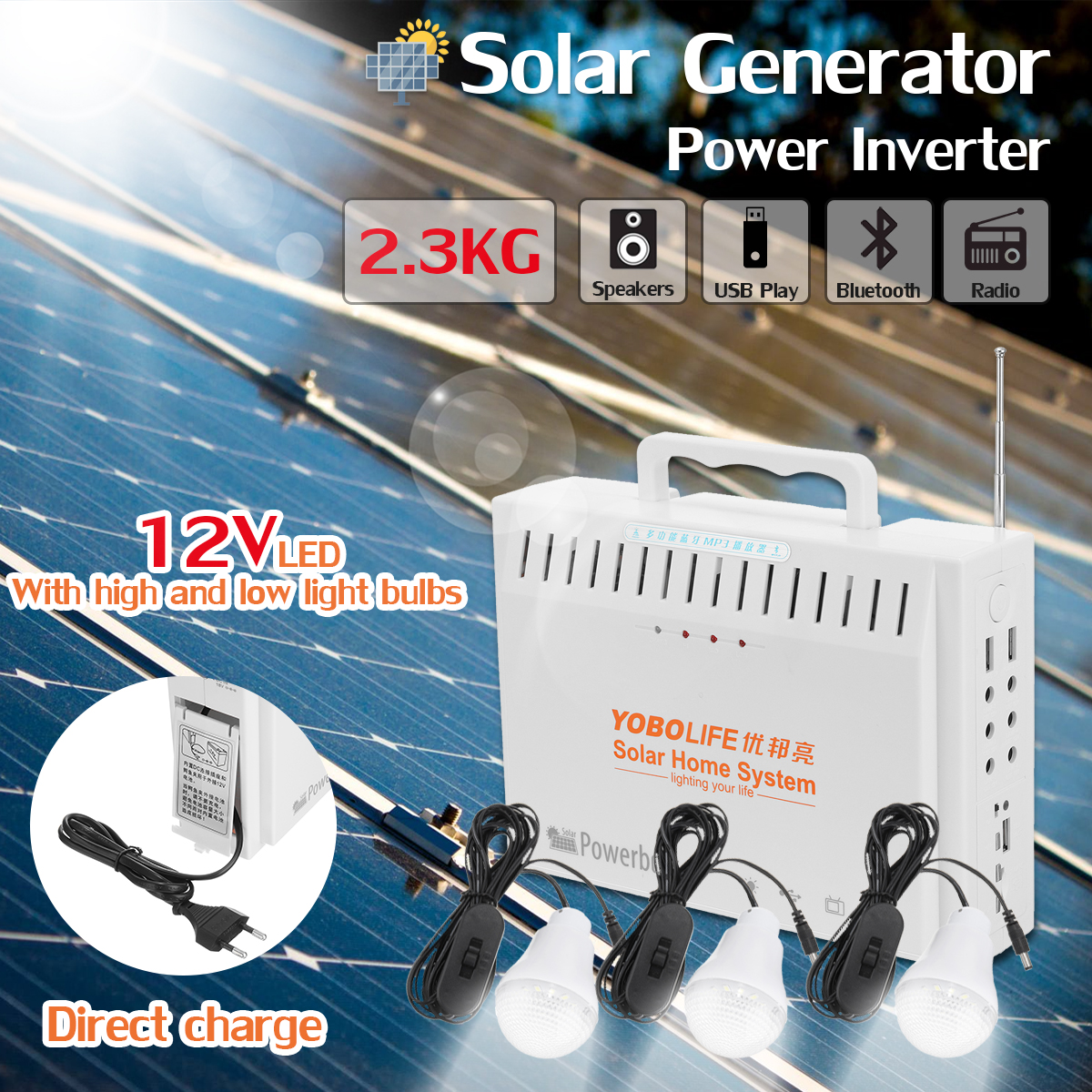 LM-9015 10W Portable Solar Generator Kit UPS Power Supply 2 USB Ports LED Bulbs Solar Powered System
