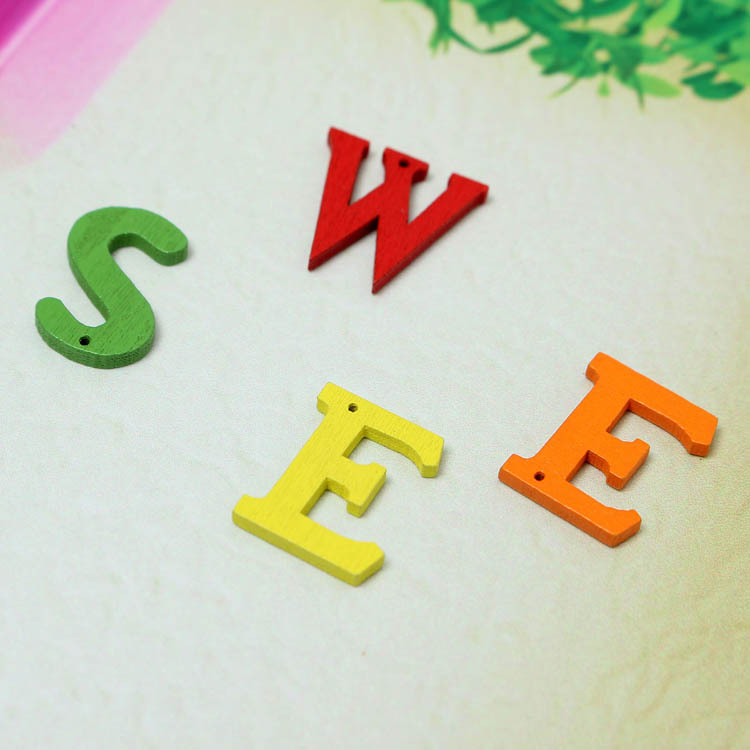 50pcs Various Colors Wooden English Letters Sewing Buttons DIY Craft Baby Clothes Decor Sewing Butt