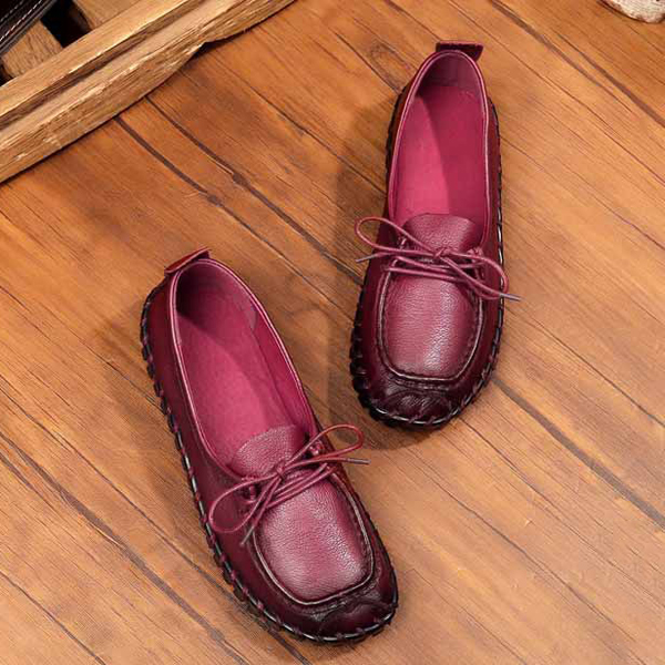 Casual Soft Leather Lace Up Round Toe Retro Comfy Flat Loafers