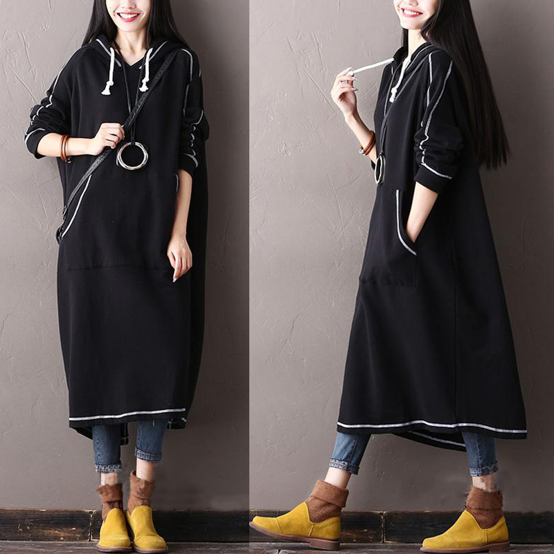 M-5XL Back Split Sweatshirt Dress