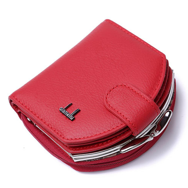 Women Genuine Leather Coin Key Purse Card Holder