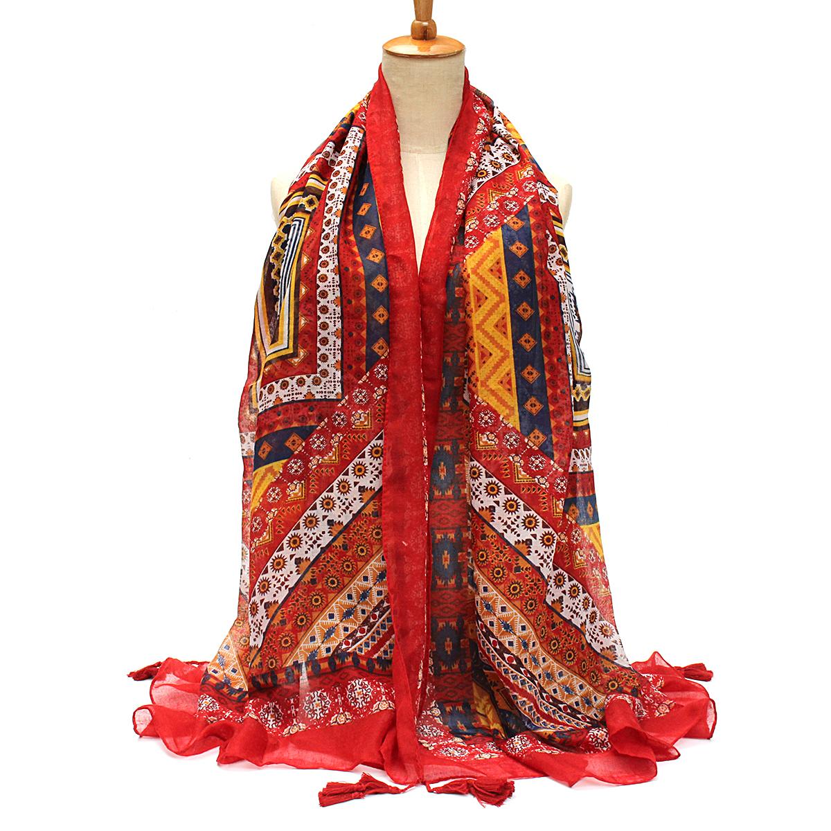 Women Ladies Bohemian Cotton Linen Scarves Folk Vintage Paisley Tassel Stole Shawl Wrap Scarf