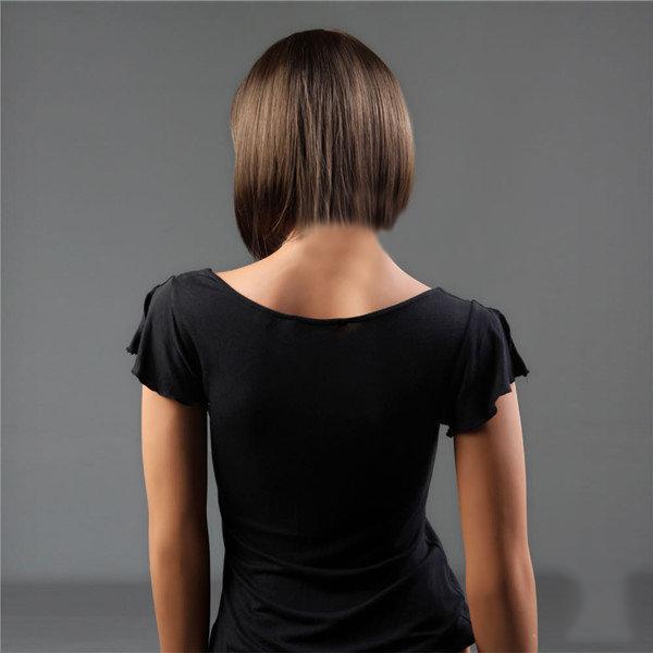 NAWOMI Short Capless 100% Kanekalon Synthetic Hair Wig Bobo Straight Dark Brown Natural Smooth