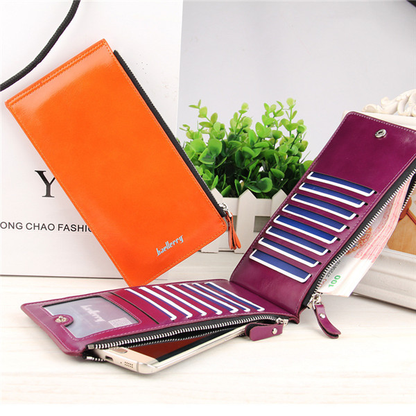 Women Waxy Ultra Thin Leather Long Purse Multi Card Holder