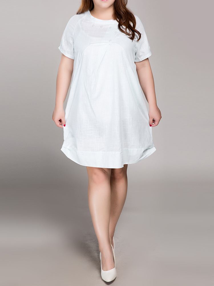 S-5XL Loose Women Solid O-Neck Short Sleeve Button Pocket Ruffle Dress