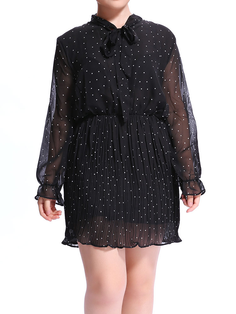Women A-Line Long Sleeve Dot Chiffon Bowknot Collar Dress
