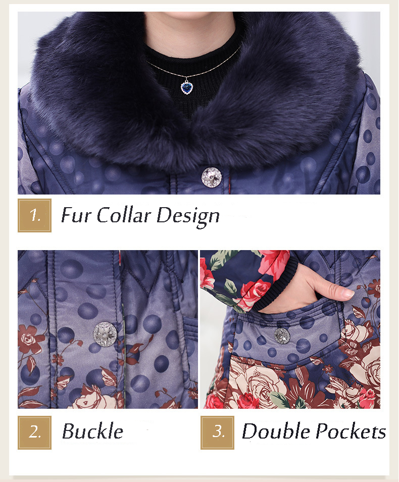 Fashion Elegant Women Printing Dots Fur Collar Thick Cotton Coat