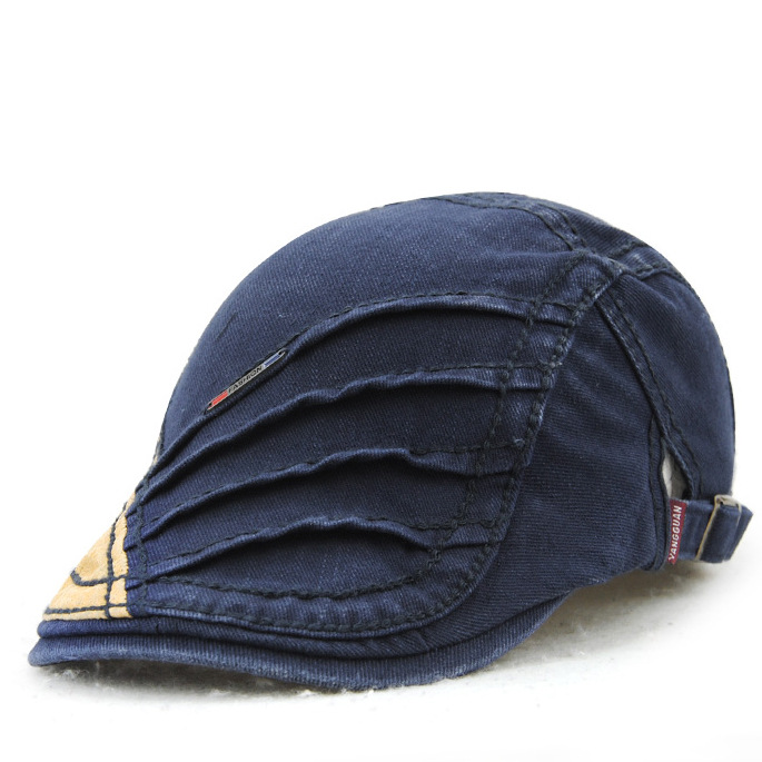 Unisex Cotton Stripe Beret Hat Duckbill Golf Flat Buckle Visor Cabbie Cap For Men Women