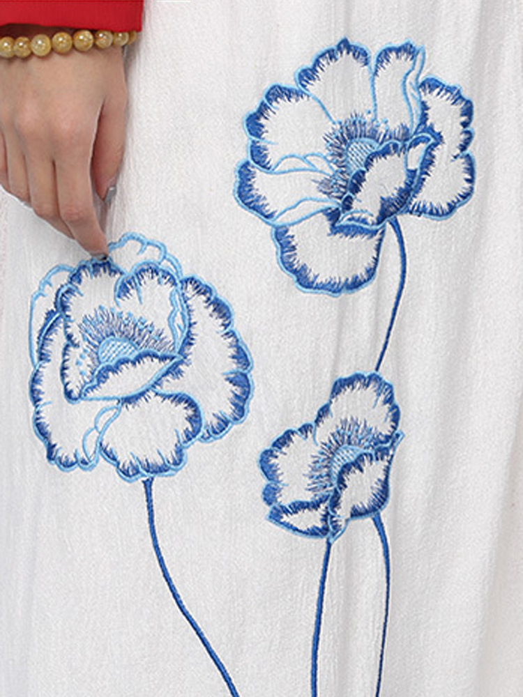 Casual Women Loose Flower Embroidery Sleeveless Long Cardigan