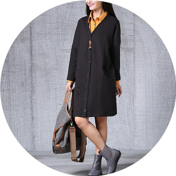 Loose Women Pure Color Button Pocket Embossing Outerwear