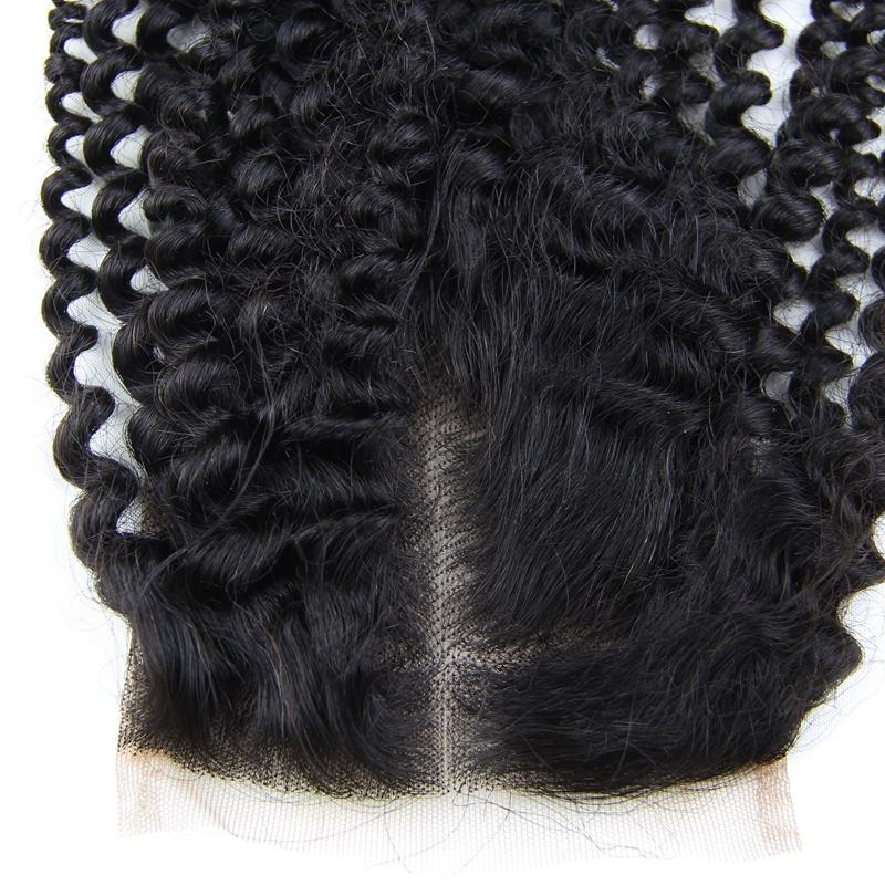 6A 4X4 Kinky Curly Virgin Hair Lace Closure Wave Brazilian Human Hair Closures Free Middle Par