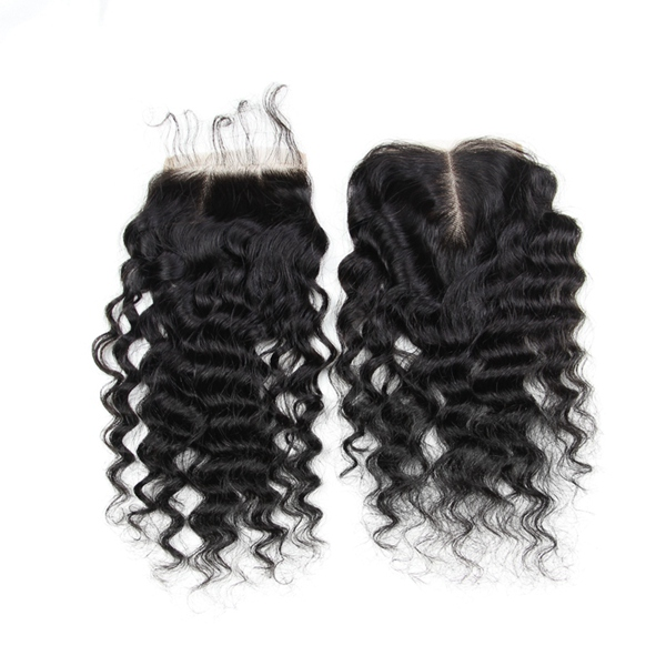 7A 4X4 Kinky Curly Virgin Hair Lace Closure Wave Chines